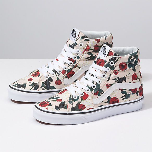 608c2ccf3bdd Roses Sk8-Hi in 2019 | Walking in my Shoes | Shoes, Vans shoes women, Suede  skate shoes