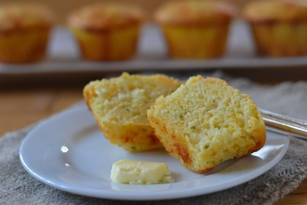 Cornmeal Buttermilk Muffins with cheddar, jalapeno, scallions and corn.