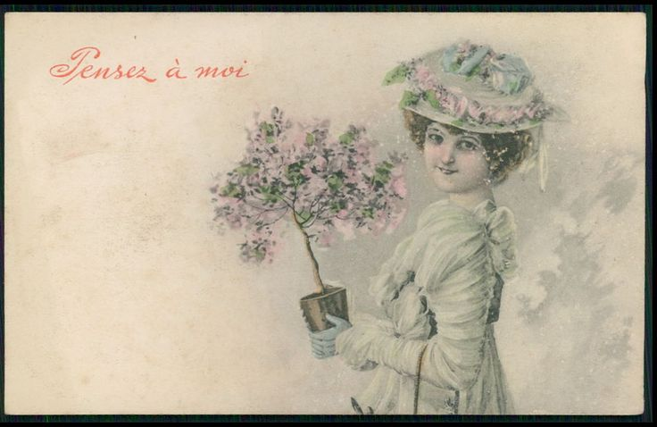 art Wichera ? Edwardian Lady and Flower vase Pot old 1910s postcard Vienne type