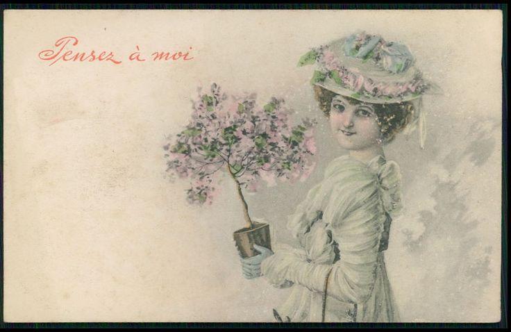 art Wichera ? Edwardian Lady and Flower vase Pot old 1910s postcard Vienne type