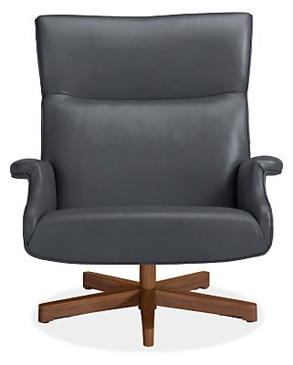 Beau Leather Chair U0026 Ottoman With Wood Base   Chairs   Living   Room U0026 Board