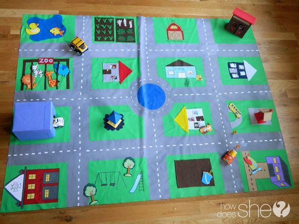 "A Complete Tutorial for a ""Made With Love: Road Rug"". Great tips on how to customize places that your family likes to go, how to seal it so it stays good for a long time, and storage ideas. Let those imaginations fly!!"