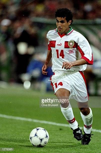 Salaheddine Bassir of Morocco in action during the World Cup first round match against Brazil at the Stade de la Beaujoire in Nantes France Brazil...