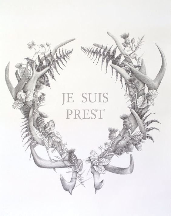 Je suis prest. Outlander art. Large art print by studiohomegrown: