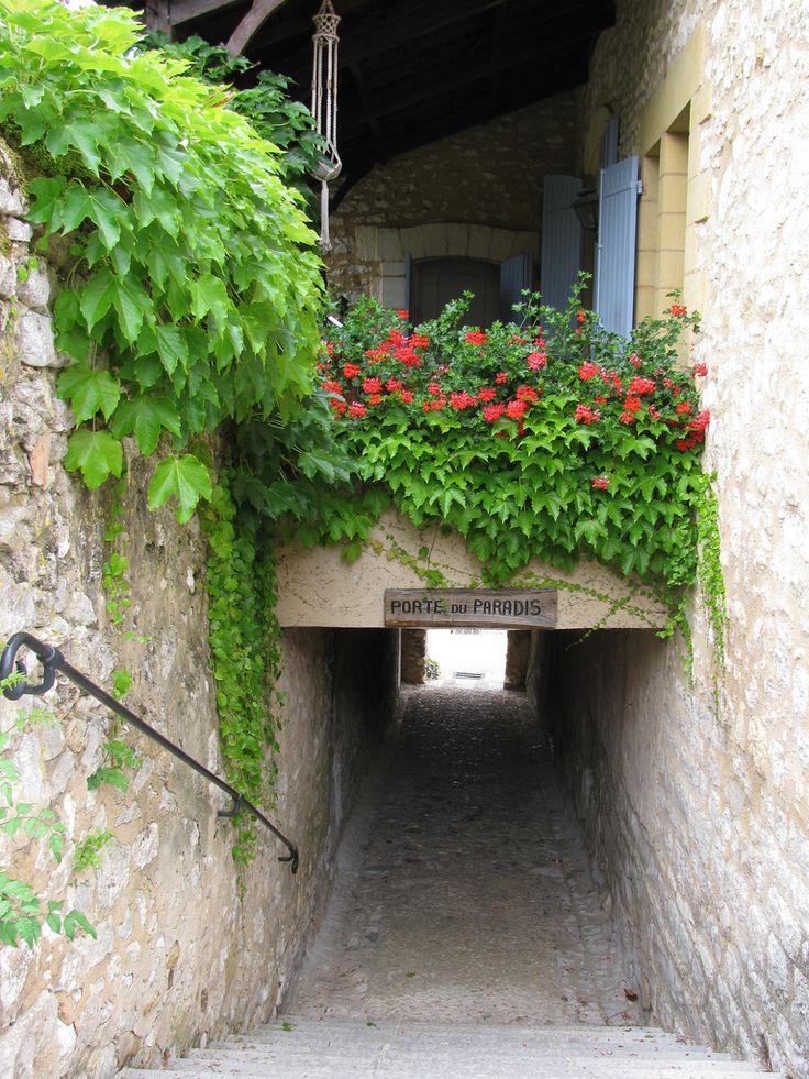 "Monpazier, Dordogne - France   Next door: Porte de Paradis ""Door of Paradise"""