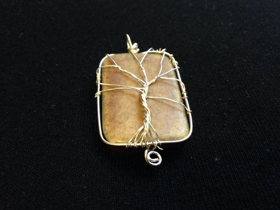 Wire wrapped tree of life pendant with bone