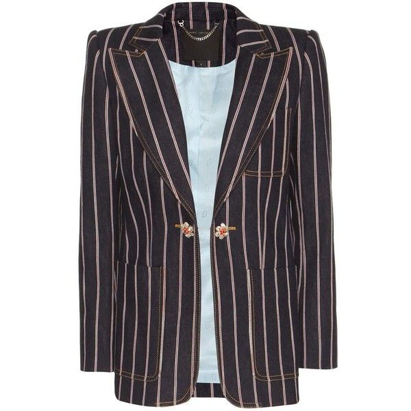 Marc Jacobs Striped Denim Blazer featuring polyvore women's fashion clothing outerwear jackets blazers blue marc jacobs jacket blue jackets stripe blazer striped blazer blue denim blazer