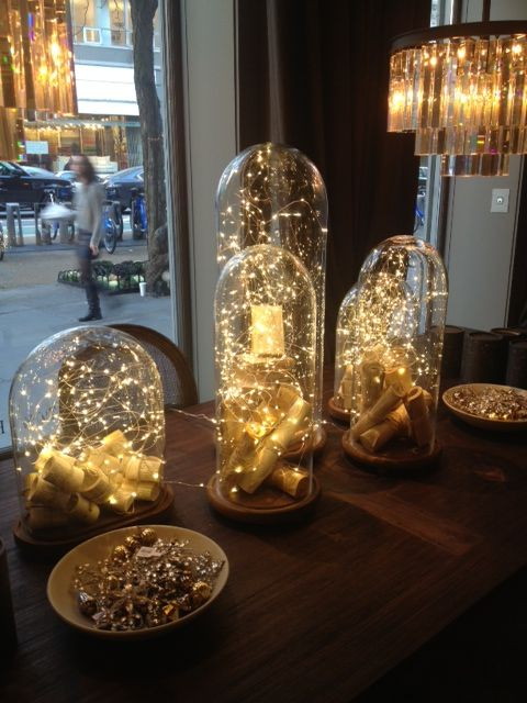 Lights under glass - I know it's not candles, but it's the next best thing - twinkle lights!