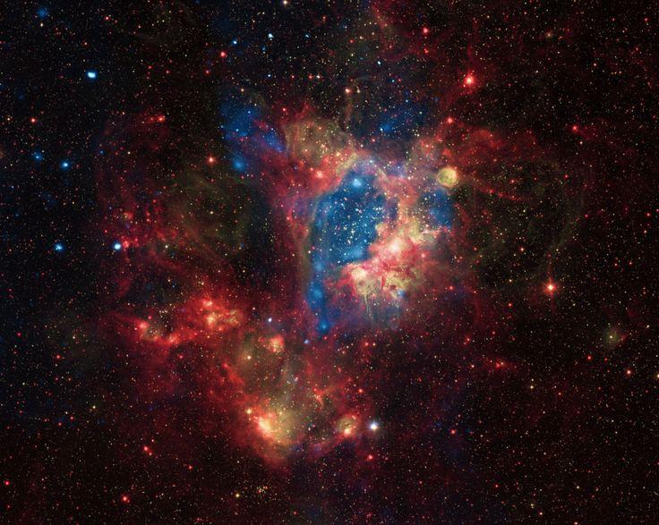 Image : Rayons X NASA/CXC/U.Mich./S.Oey, IR: NASA/JPL, spectre visible: ESO/WFI/2.2-m
