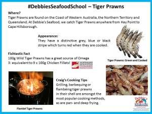 A bit of information on Tiger Prawns including where they're caught, their appearance, a fishtastic fact and Craig's Cooking Tips.
