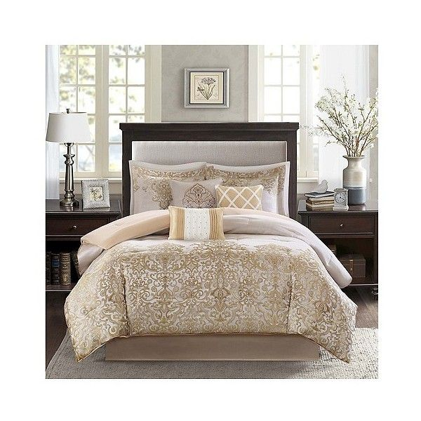 priscilla 7 piece comforter set gold 140 liked on polyvore featuring home bed u0026 bath bedding comforters gold pleated comforter california king