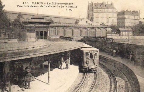Vue de l'intérieur de la gare de Bastille 1900