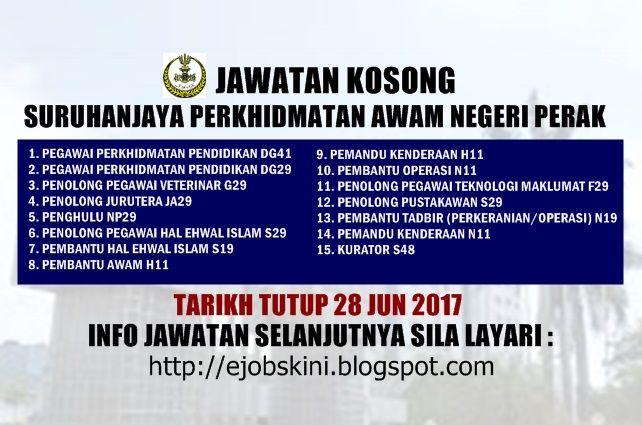 Jawatan Kosong Kerajaan di SPA Perak - 28 Jun 2017  Jawatan kosong kerajaan terkini di Suruhanjaya Perkhidmatan Awam Negeri Perak (SPA Perak) Jun 2017 | Jawatan kosong terkini di Suruhanjaya Perkhidmatan Awam Negeri Perak (SPA Perak) Jun 2017. Permohonan adalah dipelawa daripada warganegara Malaysia (Rakyat negeri Perak) yang berkelayakan untuk mengisi kekosongan jawatan kosong terkini di Suruhanjaya Perkhidmatan Awam Negeri Perak (SPA Perak) sebagai :1. PEGAWAI PERKHIDMATAN PENDIDIKAN…