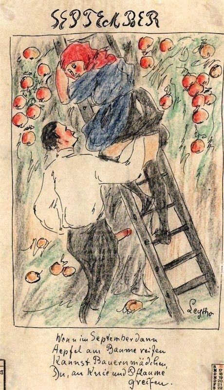 Lorsque en Septembre les pommes mûrissent sur les arbres, toi tu peux attraper les jeunes paysannes par les genoux ou par les prunes (= fesses).