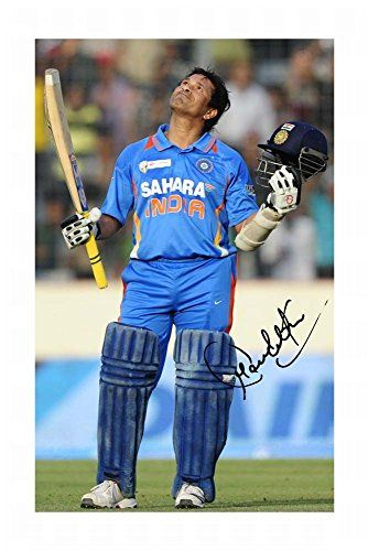 Sachin Tendulkar 100Th Century India Cricket Autograph Signed A4 21Cm X 29.7Cm Photo Poster