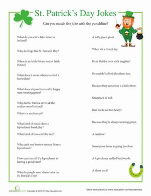 St. Patrick's Day First Grade Holidays Games Worksheets: St. Patrick's Day Jokes