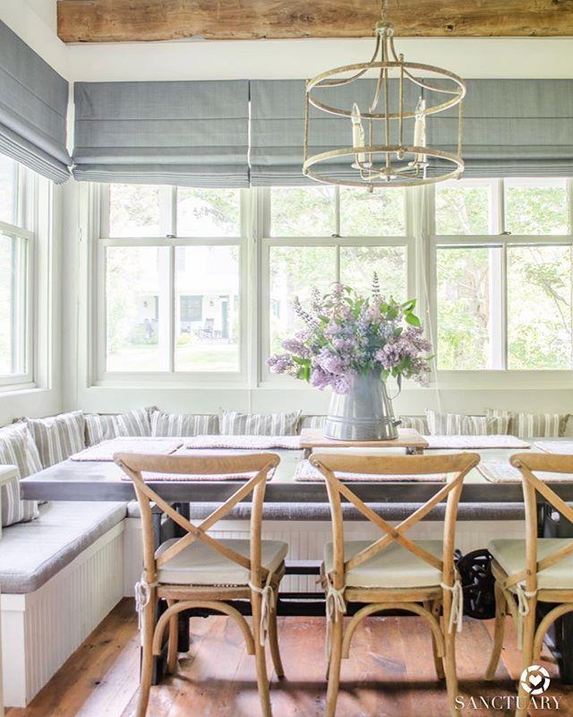 Farmhouse Kitchen With Breakfast Nook Farmhouse Lighting Lilacs