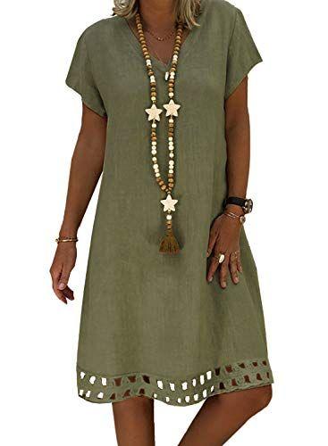 ROSKIKI Womens Short Sleeve V Neck Casual Summer Dresses Hollowed Loose Beach Sun Dresses Knee Length Shift Dresses 1