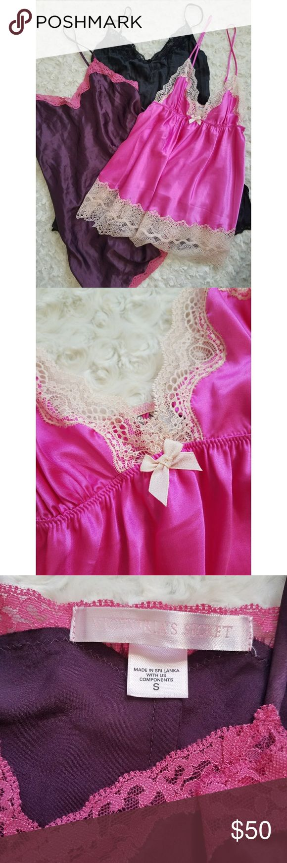 Victoria's Secret Nightie Bundle Size S. Assorted styles. Hot pink and creme. Purple and pink. And silk black.  Three for the price of one!!! Victoria's Secret Intimates & Sleepwear