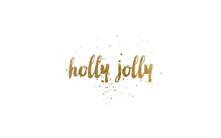 holly jolly gold foil desktop wallpaper 1920 x 1200 #christmas