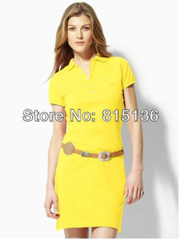 2015 New Summer women one-piece dress female polo slim cotton casual plus size XL Y-8020+ FAST FREE SHIPPING