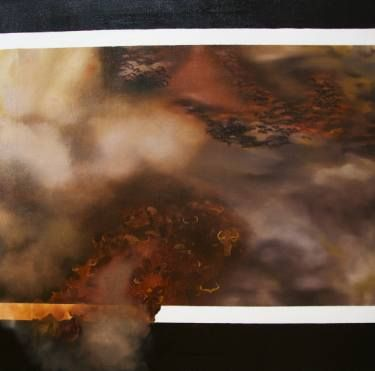"Saatchi Art Artist Nicole Theresia Spitzwieser; Painting, ""herd of buffalos, Büffelherde"" #art"