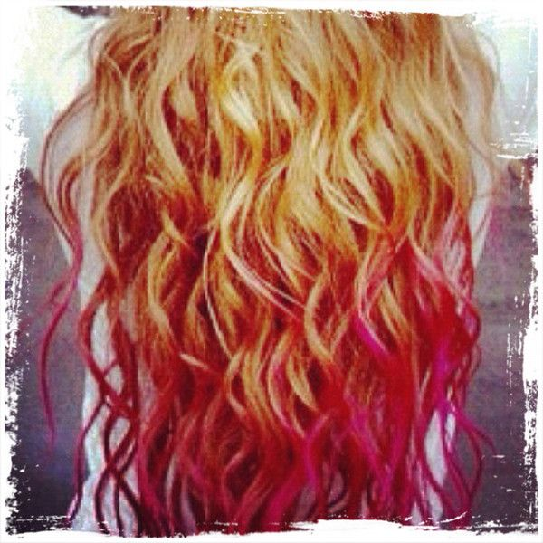 dip dye hair blonde and red - photo #33