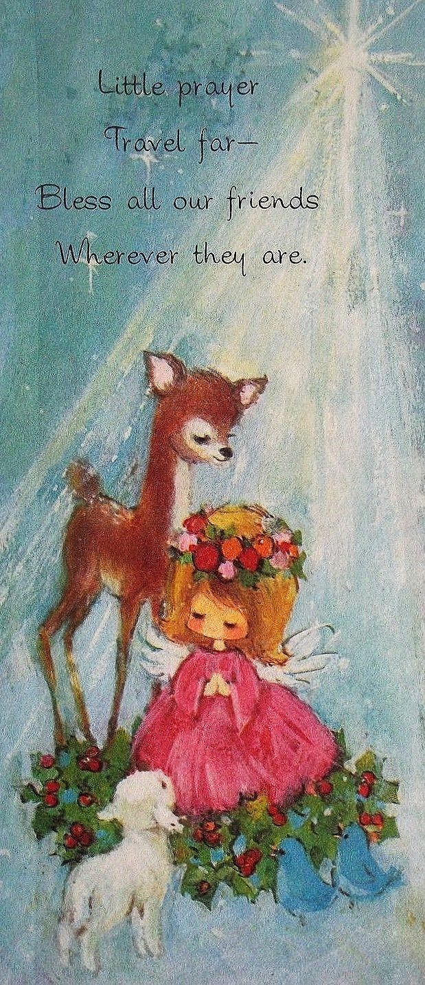 Christmas •~• vintage greeting card with animals & angel