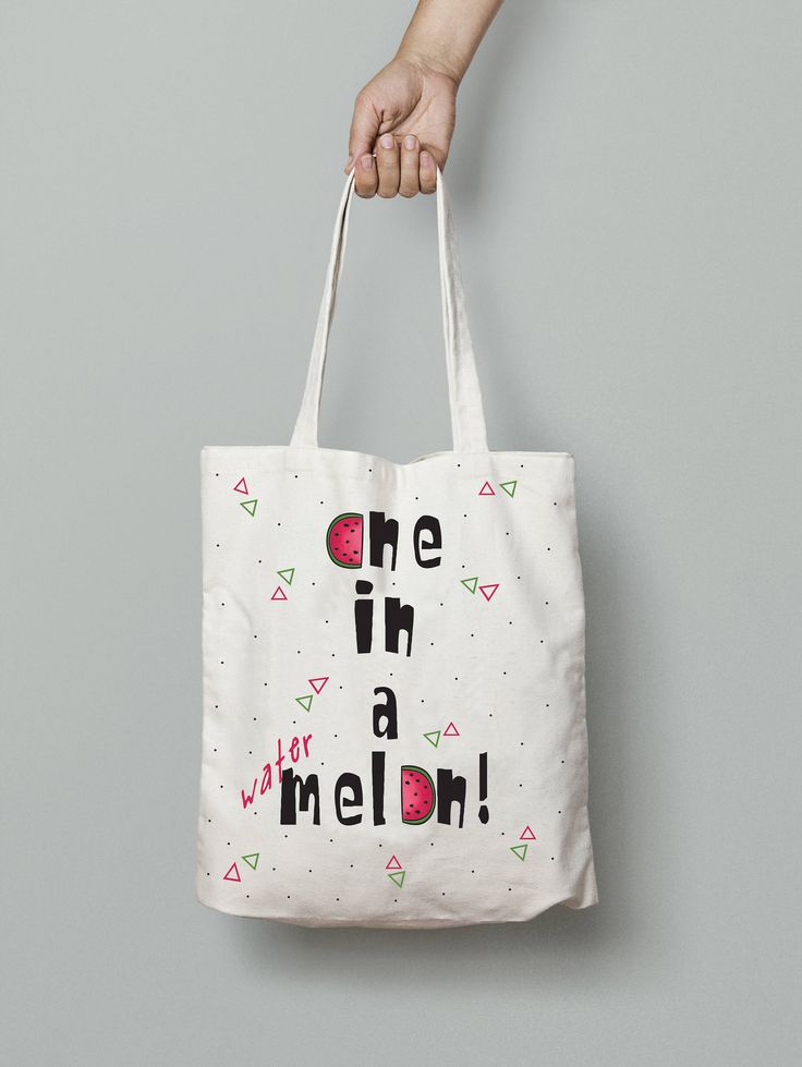 Tote bag One in a melon Canvas tote bag watermelon bag