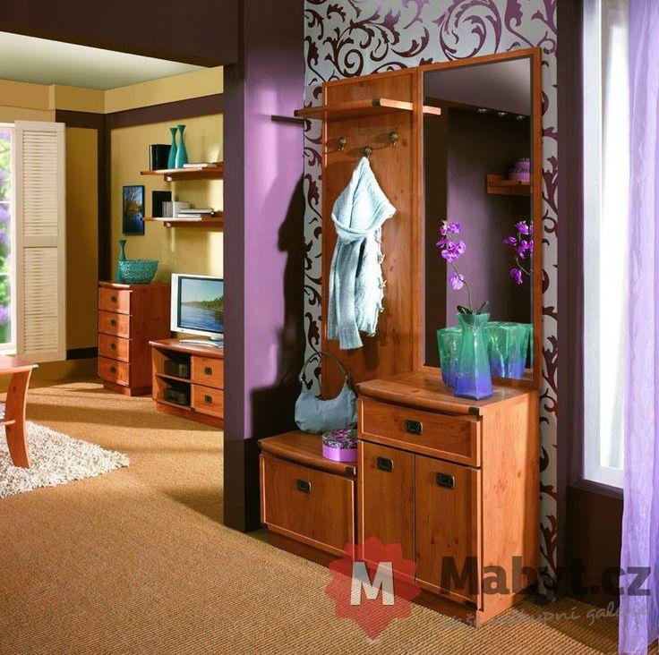 Předsíňový nábytek Rachel 5 imituje koloniální styl. http://www.mabyt.cz/33765-predsinova-stena-rachel-5.htm