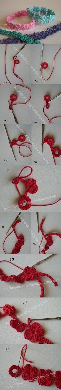Crochet Bracelet - Tutorial                                                                                                                                                     Mais