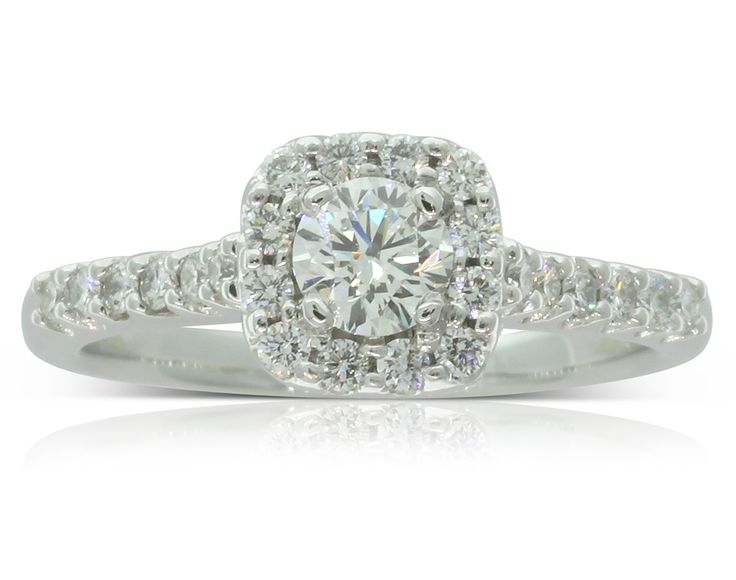 18ct white gold .35ct diamond halo ring
