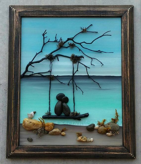 "Pebble Art, Pebble Art Couple in a swing on the beach, honeymoon, anniversary, unique pebble art, ""open"" 8X10 frame"