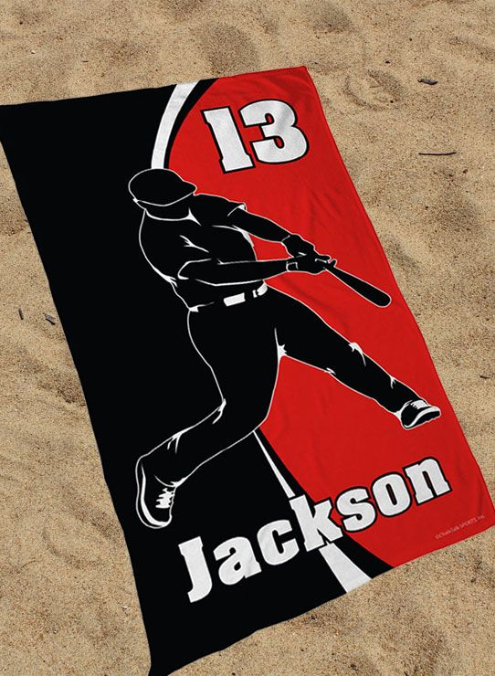 Custom Baseball Beach Towels! Perfect gift for any baseball player or baseball fan. When you hit the beach this summer, make sure your beach towel is sweater than walk-off grand slam. All of our baseball beach towels are extra soft and custom printed - choose your design, choose your team colors and add your name, baseball jersey number, team name and more!