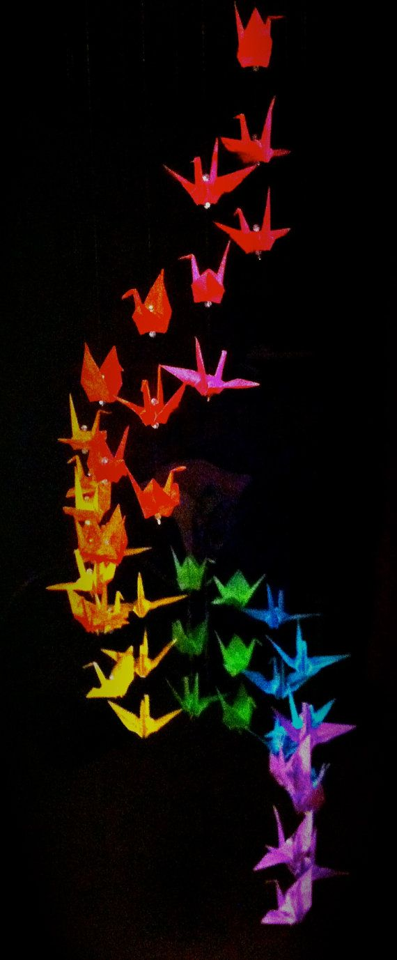"""5' origami crane mobile, resistance treated paper, 12"""" diameter, crystal beads send sparkles in a well lit room, romantic and delightful."""