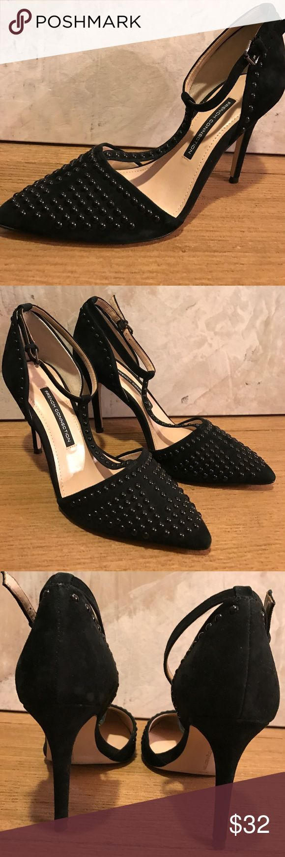 "New French Connection black studded sandals New elegant black suede heels with black stud accents. Adjustable side ankle strap - heel is 4"" inches. Striking pair of shoes in size 9. Ships same day French Connection Shoes Sandals"