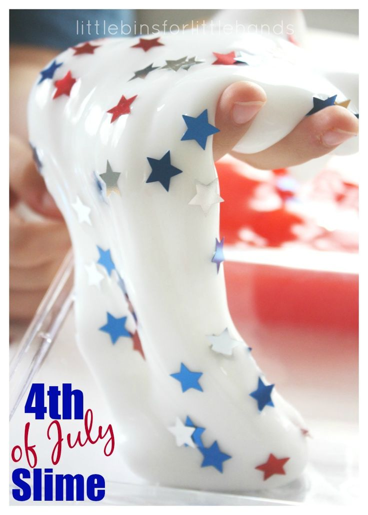 July 4th Slime Science Activity for Summer STEAM Fun. Liquid starch slime recipe or borax slime recipe. Best 4th of July science activity with a red white and blue or patriotic theme for kids!
