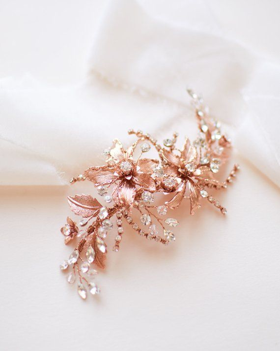 bridesmaids jewelry Wedding leaves hair comb,Rose gold headpiece Floral rose gold hair accessories Bridal rose gold floral hair comb
