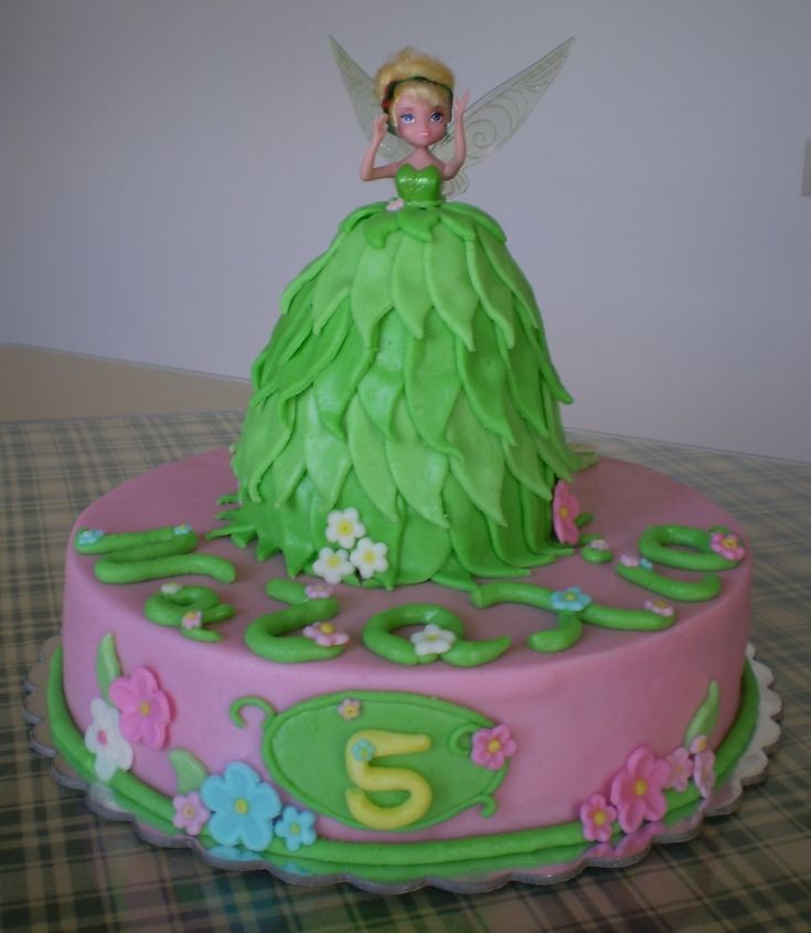 Tinkerbell Moist Yellow cake covered with fondant.