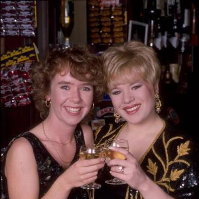 Michelle Fowler and Sharon Watts played by Susan Tully and Letitia Dean.