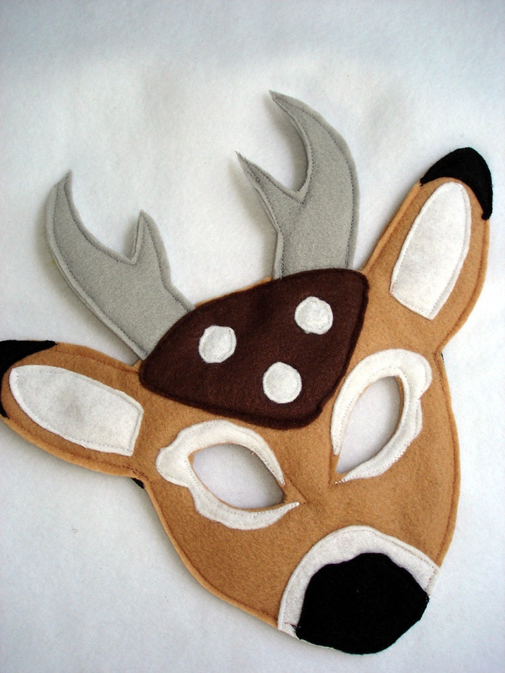 Children 39 s woodland animal deer felt mask our etsy shop for Woodland animal masks template