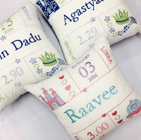 A perfect keepsake for new #parents! Fully #customized in a little prince/princess, this #cushion has #embroidered details of baby's birth. The perfect gift for this Christmas, isn't it?! Shop the Welcome baby/Birth Stat #pillow