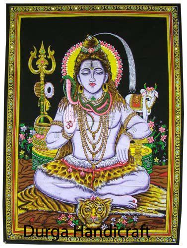 Indian Handmade God Cotton Lord Shiva Twin Tapestry Poster Wall Hanging Decor Handmade Artdecostyle Posterwallhanging Tapestry Shiva Hippie Posters