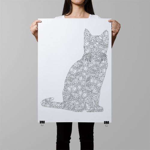 If there's anything better than a cat coloring page - it's a giant cat coloring page! Head over to annagrunduls.com/shop and get yourself this beautiful poster to color in full of tiny details! It's a perfect piece to practice diamonds coloring too ;)