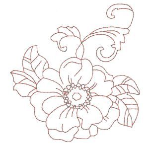 Drawing Embroidery Machine   Fancy Flowers Redwork Machine Embroidery Designs