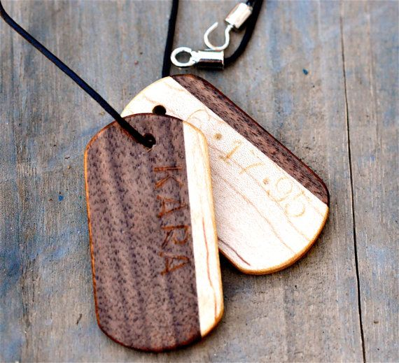 Mens Personalized Necklace Mens Wooden Dog Tag by TimberAndChain