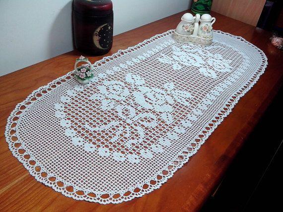 Crochet lace oval doily crochet oval white by Handmadesfiopi