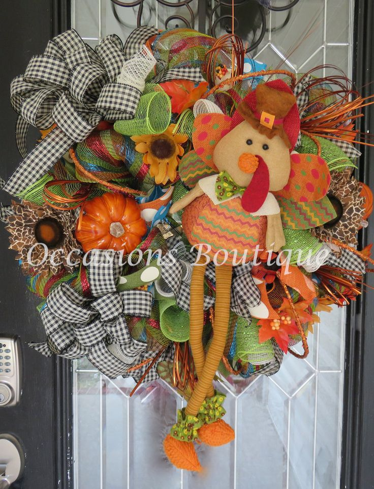 Fall Wreath, Thanksgiving Wreath, Door Hanger, Front door Wreath, Large Wreath, Deco Mesh, Turkey, Fall decor, Ready to Ship by OccasionsBoutique on Etsy