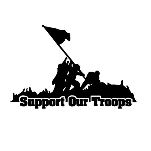 8 Inch Support Our Troops Military Decal Sticker Car Tattoo her (4) | cafedecals - Housewares on ArtFire