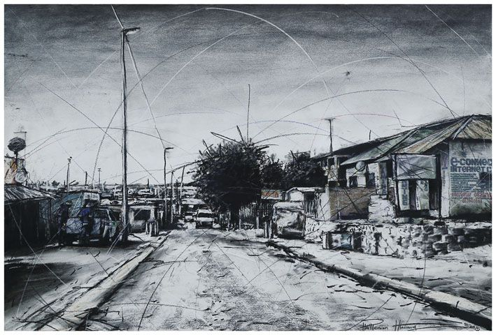 An original work by Phillemon Hlungwani entitled: Selborn Street and 10th Avenue (ALEX) II mixed media on paper 70 x 105cm. For more please visit www.finearts.co.za